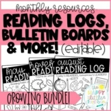 Editable Monthly Reading Resources- Reading Logs, Bulletin