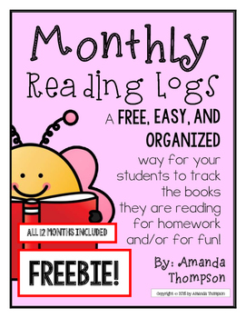Monthly Reading Logs FREEBIE