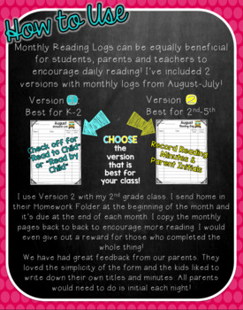 Monthly Reading Logs For Elementary Readers