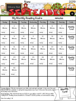 Monthly Reading / Minute Tracker Calendar Bundle ~Editable!~ June 2018-July 2019
