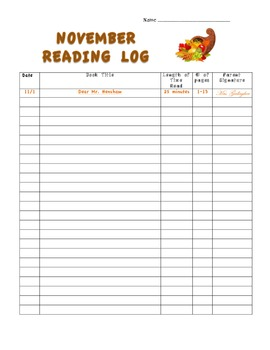 Monthly Reading Logs Preview