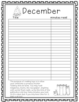 Monthly Reading Logs Set