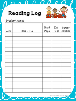 Monthly Reading Logs (Teal & White Loops)