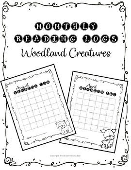 Monthly Reading Logs With Woodland Creatures