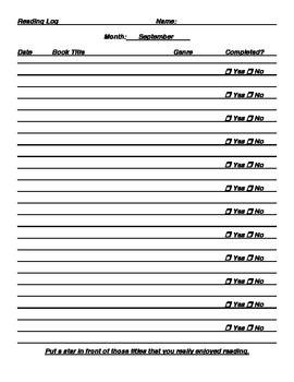Monthly Reading Logs and Goal Setting
