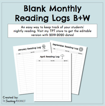 Monthly Reading Logs (black and white)
