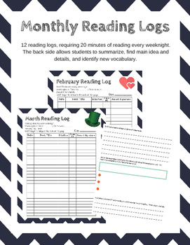 Monthly Reading Logs with Summarizing, Main Idea, and Vocabulary