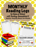 Monthly Reading Logs with Tracking Spreadsheet & Monthly Award Certificates