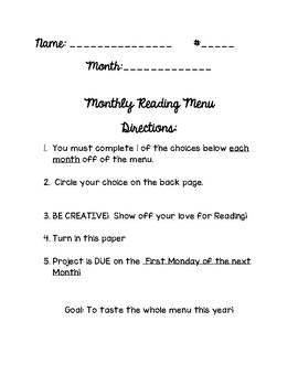 Monthly Reading Menu & Rubric