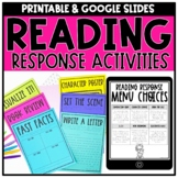 Reading Response Menus & Digital Activities for Distance Learning