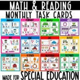 Monthly Reading and Math Task Boxes for Special Education