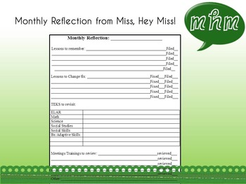 Monthly Lesson Reflection