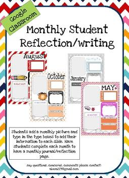 Monthly Reflection Google Classroom/Google Slides