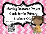 Monthly Research Project Cards with QR codes for Primary Students