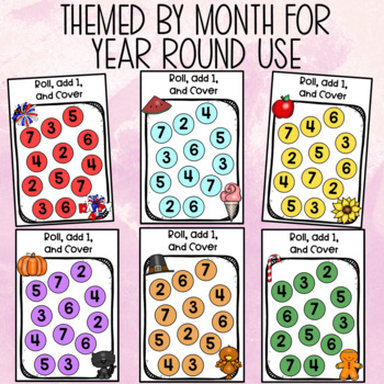 Monthly Roll, Add 1, & Cover Math Center Game