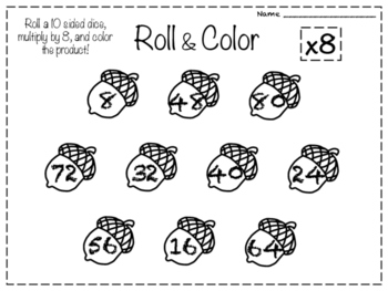 Monthly Roll and Color Multiplication Worksheets!