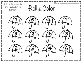Monthly Roll and Color Worksheets