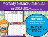 Monthly SNACK Calendar (Editable) 2020-2021