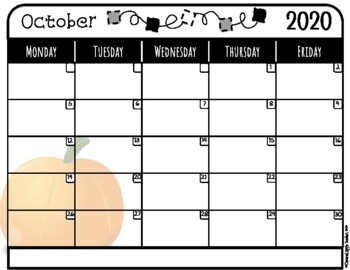 Monthly School Calendar: 2018-2019