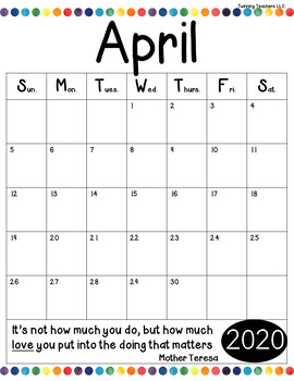 Monthly School Year Calendar 2018-2019