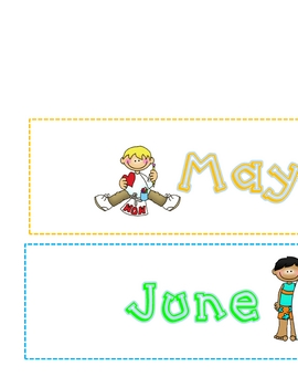Monthly School Year Labels Boy