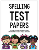 Monthly & Seasonal Spelling Test Papers (10 and 12 Spelling Words)