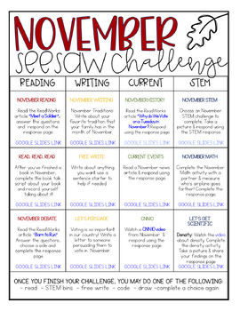 Monthly Seesaw Challenges - Growing Bundle!