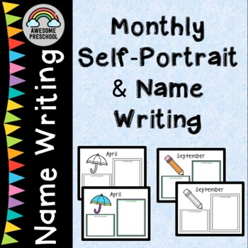 Monthly Self Portraits and name writing for portfolio