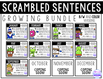 Monthly Sentence Scrambles - Growing Bundle