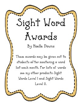Monthly Sight Word Awards