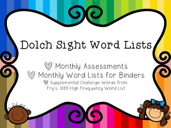 Monthly Sight Word Lists and Assessments