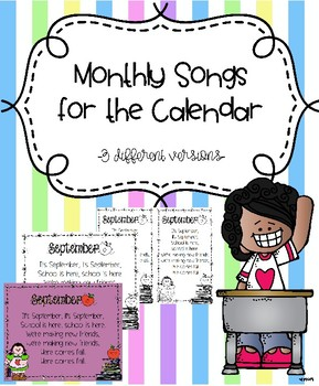 Monthly Songs for the Calendar - 3 different versions of each month!