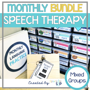 Monthly Speech and Language Activities Bundle for Mixed Groups