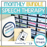 Speech and Language Monthly Themed Therapy Activities Bundle for Mixed Groups