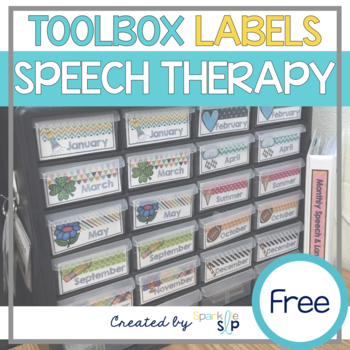 Monthly Speech and Language Toolbox Labels and Binder Spine
