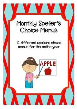Monthly Speller's Choice Menus