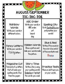 Monthly Spelling Activities and Homework