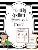 Monthly Spelling Homework Menus