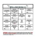 Monthly Spelling Menu #1