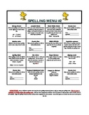 Monthly Spelling Menu #2 - Includes Spanish Version