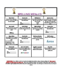 Monthly Spelling Menu #3 - Includes Spanish Version