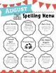 Monthly Spelling Menu - Various Learning Modalities