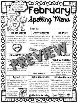 Monthly Spelling Menus --- Spelling Tic-Tac-Toe with EDITABLE DIRECTIONS