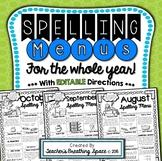 Monthly Spelling Menus --- Spelling Tic-Tac-Toe with EDITA
