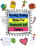 Monthly Spelling Menus for Homework and Centers