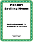 Monthly Spelling Menus for Intermediate Students
