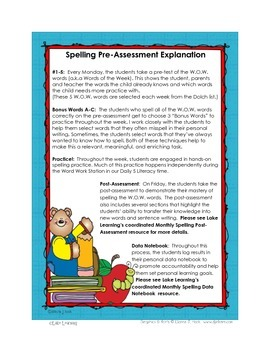 Monthly Spelling Pre-Assessments