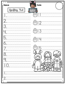 Monthly Spelling Test Paper