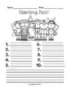 Monthly Spelling Tests