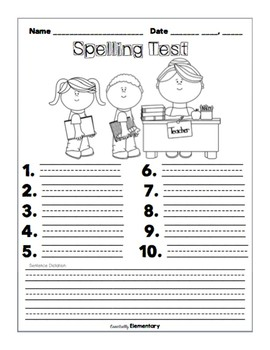 Monthly Spelling Tests- August